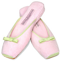 Amy Jo Gladstone Pink slipper with green and white plaid bow