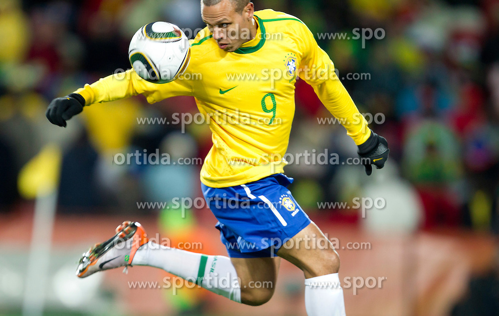 Luis Fabiano of Brazil during the 2010 FIFA World Cup South Africa Group G match between Brazil and North Korea at Ellis Park Stadium on June 15, 2010 in Johannesburg, South Africa. Brazil defeated Korea 2-1. (Photo by Vid Ponikvar / Sportida)