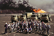 British Explosive Ordinance Disposal Team, near GC1 (Gathering Center One), mine-clearing and bomb disposal troops, at the Al-Burgan oil field in Kuwait. The entire country was walked by teams of experts and more people died in this cleanup effort than US and Coalition soldiers killed during the actual war.