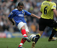 Photo: Lee Earle.<br /> Portsmouth v Manchester City. The Barclays Premiership. 11/03/2006. Pompey's Pedro Mendes scores the opening goal.