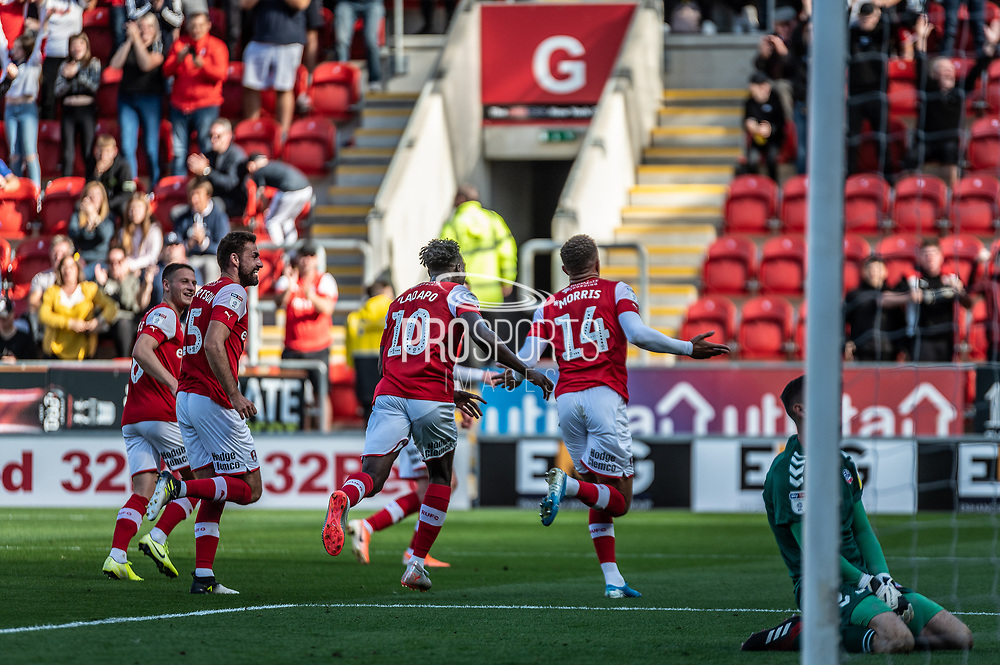 Carlton Morris of Rotherham United scores to make it 3-1 to Rotherham during the EFL Sky Bet League 1 match between Rotherham United and Bolton Wanderers at the AESSEAL New York Stadium, Rotherham, England on 14 September 2019.