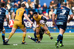 David Lemi of Bristol Rugby is tackled by Macauley Cook of Cardiff Blues - Rogan Thomson/JMP - 21/01/2017 - RUGBY UNION - Cardiff Arms Park - Cardiff, Wales - Cardiff Blues v Bristol Rugby - EPCR Challenge Cup.