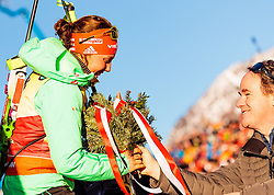 15.02.2017, Biathlonarena, Hochfilzen, AUT, IBU Weltmeisterschaften Biathlon, Hochfilzen 2017, Damen, Einzel, Flower Zeremonie, im Bild Goldmedaillengewinnerin Laura Dahlmeier (GER) // Winner and 3rd time World Champion Laura Dahlmeier of Germany during Flower Ceremony of the individual women the IBU Biathlon World Championship at the at the Biathlonarena in Hochfilzen, Austria on 2017/02/15. EXPA Pictures © 2017, PhotoCredit: EXPA/ JFK