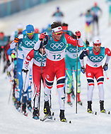 Norway's Emil Iversen leads the field as the complete one lap of the Men's 50km Mass Start Classic at the Alpensia Cross Country Centre during day fifteen of the PyeongChang 2018 Winter Olympic Games in South Korea.
