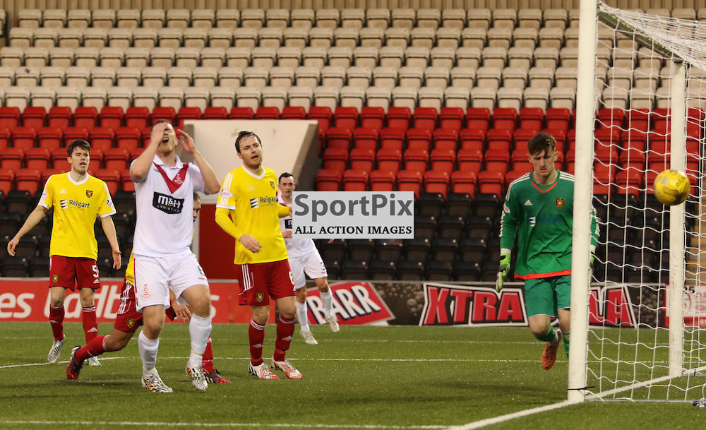 Airdrie's Alan Lithgow can't believe another chance goes past the post during the Airdrieonians FC V Albion Rovers FC Scottish League One 31st October 2015 ©Edward Linton | SportPix.org.uk