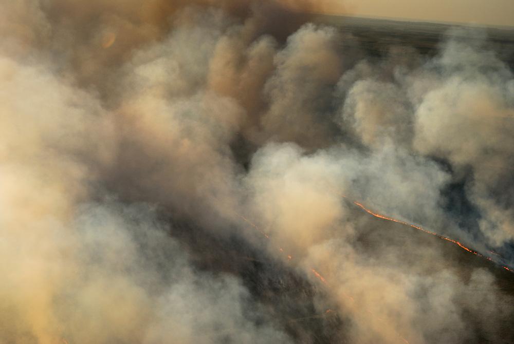Spring burning of the Flint Hills north of Matfield Green, Kansas.