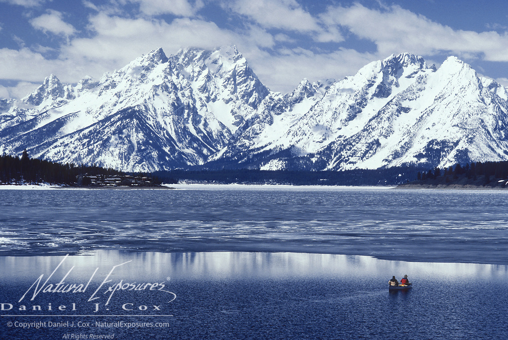Canoeists on Jackson Lake in Grand Teton National Park, Wyoming.