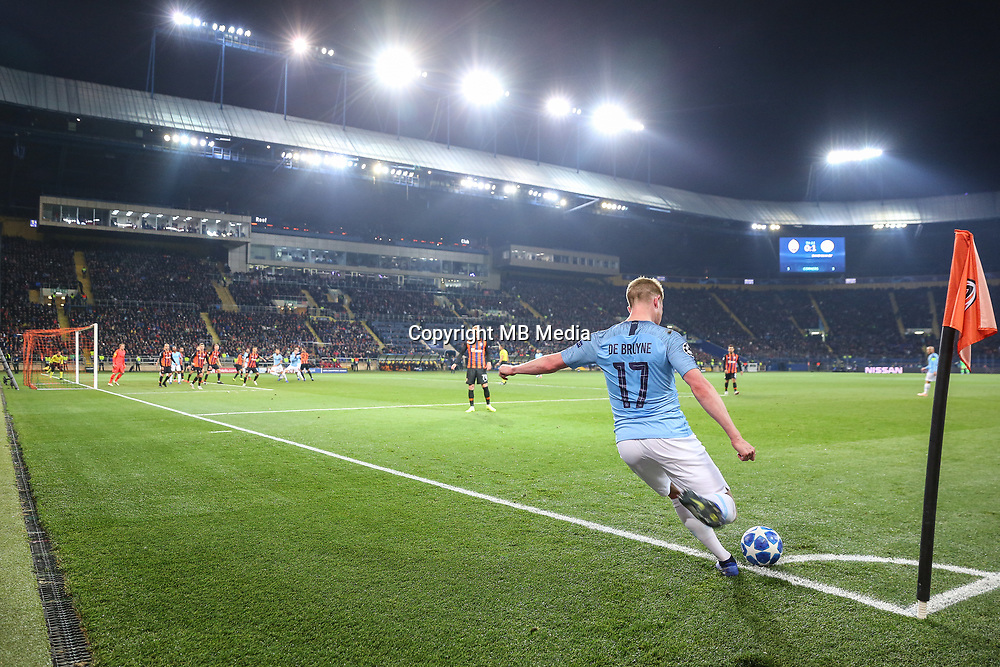 KHARKOV, UKRAINE - OCTOBER 23: Kevin De Bruyne of Manchester City in action during the Group F match of the UEFA Champions League between FC Shakhtar Donetsk and Manchester City at Metalist Stadium on October 23, 2018 in Kharkov, Ukraine. (Photo by MB Media/Getty Images)