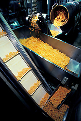 snack Food manufacturing industiral plant workers oversee cheese corn curls