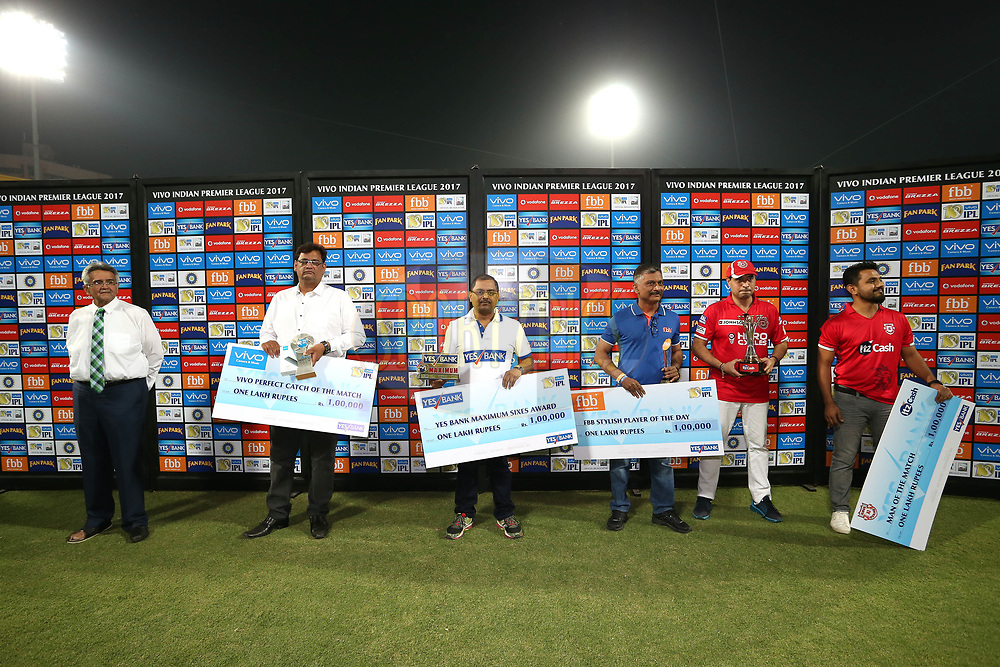 The Post Match Presentation Party during match 4 of the Vivo 2017 Indian Premier League between the Kings XI Punjab and the Rising Pune Supergiant held at the Holkar Cricket Stadium in Indore, India on the 8th April 2017<br /> <br /> Photo by Shaun Roy - IPL - Sportzpics