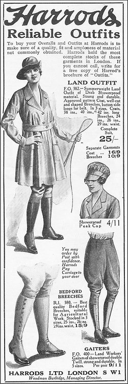 Holding the Home Front<br /> The Women's Land Army in the First World War book by Pen and sward<br /> <br /> Within days of the start of the First World War there were calls for women to come to the fields, but it would be almost three years before the Women's Land Army was established. In that time though, various private and public initiatives would be launched to pull women onto the land. The Women's Land Army would be shaped as much by the successes and failures of these earlier enterprises as by the precise requirements of 1917. It was a process of evolution, not revolution, and agricultural policy had also evolved over the course of the first three years of the war. By the spring of 1917 farmers were being called upon to plough out, to push back the borders and extend the cultivated acreage back to the highs of the 1870s. Agriculture would thus need most labour just as it had least available. Britain's food security had never looked most precarious than it did at the start of 1917.<br /> <br /> Photo Shows: Clothing adverts from The Landswoman, September 1918, No. 9, Vol. 1. and October 1918, No. 10, Vol. 1.<br /> ©Pen and sward/Exclusivepix Media