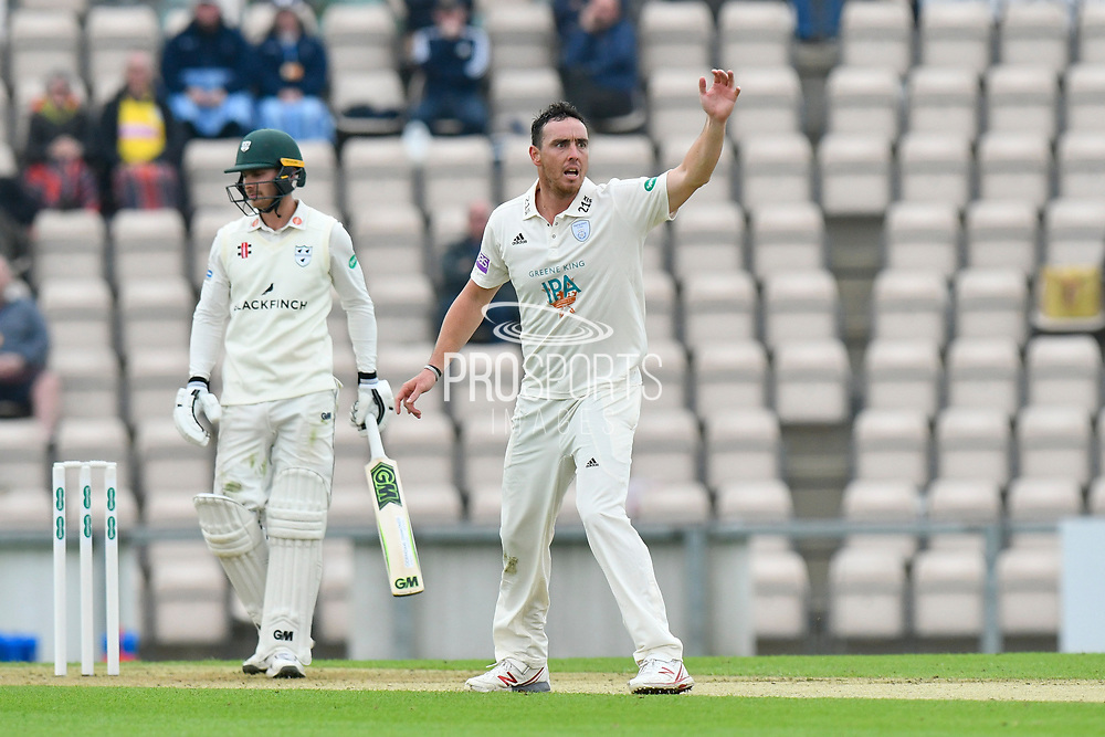 Kyle Abbott of Hampshire appeals of a wicket during the Specsavers County Champ Div 1 match between Hampshire County Cricket Club and Worcestershire County Cricket Club at the Ageas Bowl, Southampton, United Kingdom on 13 April 2018. Picture by Graham Hunt.