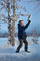 Cultural Anthropologist, Richard Nelson, records bird sounds near Westchester Lagoon, during a visit to Anchorage