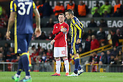 Wayne Rooney Forward of Manchester United and Fenerbahce Forward Robin van Persie during the Europa League match between Manchester United and Fenerbahce at Old Trafford, Manchester, England on 20 October 2016. Photo by Phil Duncan.