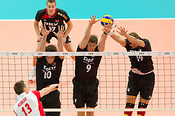 10.09.2011, O2 Arena, Prag, CZE, Europameisterschaft Volleyball Maenner, Vorrunde D, Deutschland (GER) vs Polen (POL), im Bild Michal Kubiak (#13 POL) - Jochen Schöps/Schoeps (#10 GER / Odintsovo RUS), Stefan Hübner/Huebner (#9 GER / Dueren GER), Robert Kromm (#14 GER / Verona ITA) // during the 2011 CEV European Championship, Germany vs Poland at O2 Arena, Prague, 2011-09-10. EXPA Pictures © 2011, PhotoCredit: EXPA/ nph/  Kurth       ****** out of GER / CRO  / BEL ******