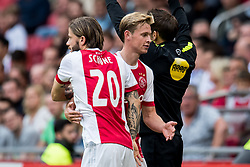 (L-R) Lasse Schone of Ajax, Frenkie de Jong of Ajax during the Dutch Eredivisie match between Ajax Amsterdam and FC Groningen at the Amsterdam Arena on August 20, 2017 in Amsterdam, The Netherlands