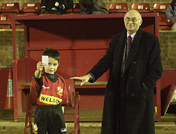 MASCOT WITH CHAIRMAN PETER MALLINGER ALTRINGHAM GAME 2003  Kettering Town v Altrincham FA Trophy Rockingham Road, 14th January 2003