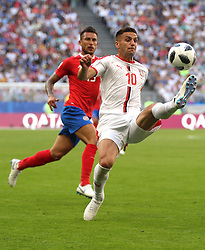 SAMARA, June 17, 2018  Dusan Tadic (R) of Serbia controls the ball during a group E match between Costa Rica and Serbia at the 2018 FIFA World Cup in Samara, Russia, June 17, 2018. (Credit Image: © Fei Maohua/Xinhua via ZUMA Wire)