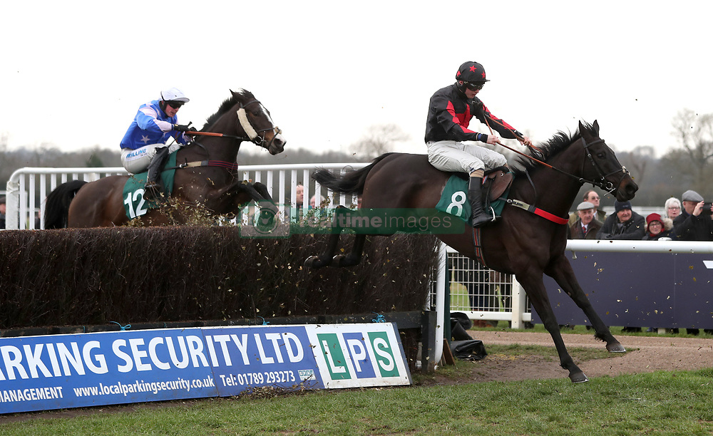 Gardiners Hill ridden by Sean Bowen (right) competing in the Trial Racing TV For Free Now Handicap Chase during Midlands Raceday at Warwick Racecourse.