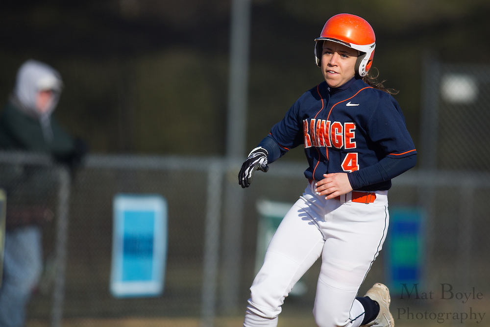 Orange County Community College softball outfield Corrin Lumbrazo (4) - Orange County Community College Softball at Gloucester County College at Gloucester County College softball fields in Sewell, NJ on Tuesday April 2, 2013. (photo / Mat Boyle)