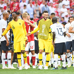 Steve Mandanda and Hugo Lloris of France during the FIFA World Cup Group C match between Denmark and France at Luzhniki Stadium on June 26, 2018 in Moscow, Russia. (Photo by Anthony Dibon/Icon Sport)