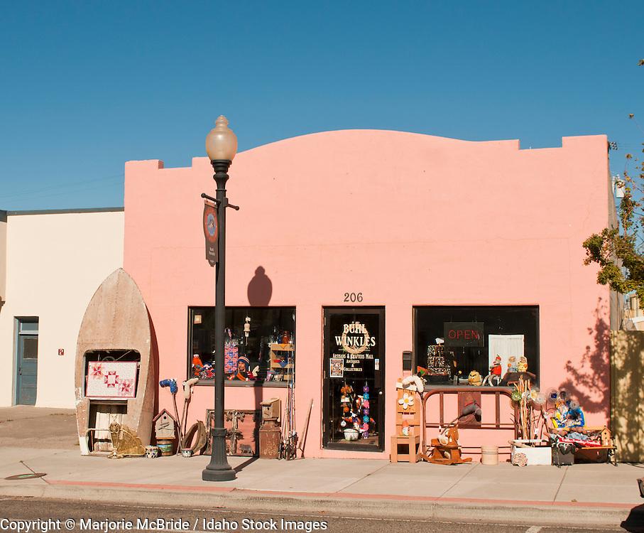 Shops along the main street in the southern Idaho town of Buhl, Idaho.