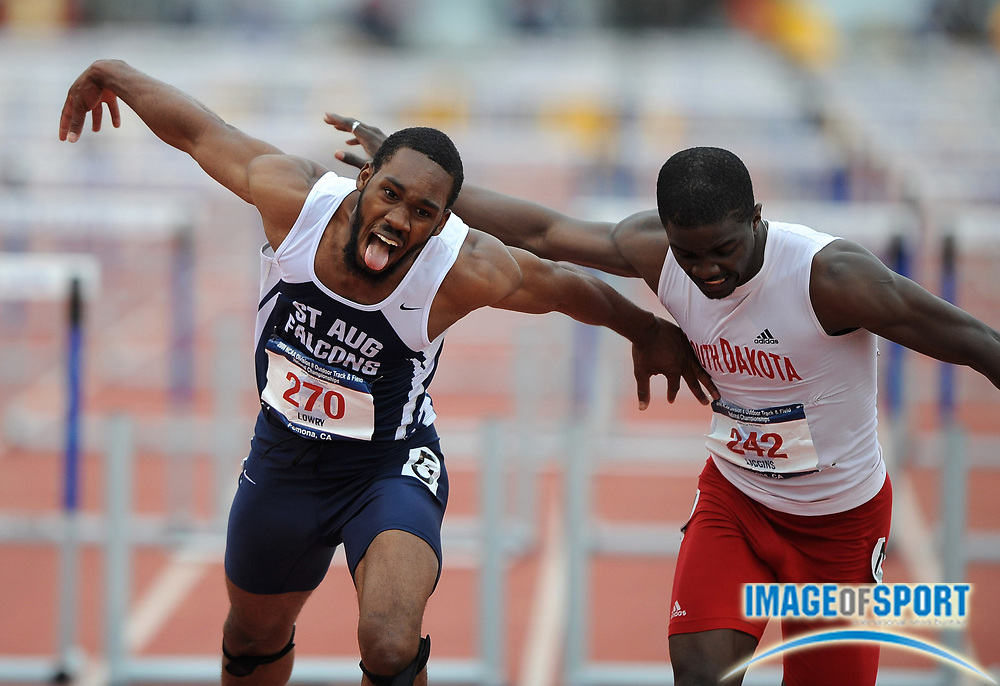 May 24, 2008; Walnut, CA, USA;  Dior Lowry of St. Augustine's, left, and Terry Liggins of South Dakota lean at the finish of the 110m hurdles in the NCAA Division II Track & Field Championships at Mt. San Antonio College's Hilmer Lodge Stadium.