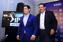 December 18, 2018 - Jaipur, Rajasthan, India - Mumbai Indians owner Akash Ambani (L) and CEO Kolkata Knight Riders (KKR) Venky Mysore (R)  at a press conference for the Indian Premier League 2019 auction in Jaipur on December 18, 2018, as teams prepare their player rosters ahead of the upcoming Twenty20 cricket tournament next year. The 2019 edition of the IPL -- one of the world's most-watched sporting events attracting the world's top stars -- is set to take place in April and May next year.(Photo By Vishal Bhatnagar/NurPhoto) (Credit Image: © Vishal Bhatnagar/NurPhoto via ZUMA Press)