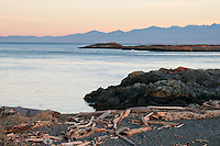 A late winter sunset at McMicking Point is pink and blue over the ocean at McMicking Point in Victoria, BC