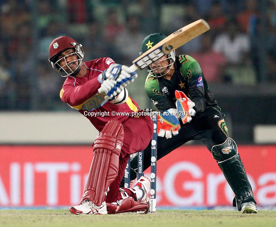 Denesh Radmin batting - Pakistan v West Indies, Shere Bangla National Stadium, Mirpur, Bangladesh. 1 April 2014. Photo: www.photosport.co.nz