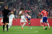 Forward Diego Costa of Atletico de Madrid and Defender Luiz Gustavo of Olympique de Marseille during the UEFA Europa League, Final football match between Olympique de Marseille and Atletico de Madrid on May 16, 2018 at Groupama Stadium in Decines-Charpieu near Lyon, France - Photo Jean-Marie Hervio / ProSportsImages / DPPI