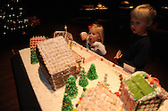 Charlie Samuels (right), with his sister Lorelei, looks over the Gingerbread Village at the Ford Center, in Oxford, Miss., on Monday, December 16, 2013. Story time for younger kids will be on Wednesday at 10:30 a.m. and on Thursday at 3:30 p.m. for older kids. The Gingerbread Village supports local food banks. Visitors are encouraged to bring non-perishable food items to donate.