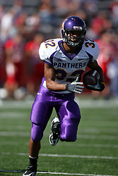 29 September 2007: Darian Williams sprints in the open field.  In action between the Northern Iowa Panthers and the Illinois State Redbirds, the Panthers chewed up the Redbirds by a score of 23 - 13. Game action commenced at Hancock Stadium on the campus of Illinois State University in Normal Illinois..