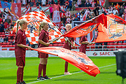 Sunderland flag wavers welcome the teams before the EFL Sky Bet League 1 match between Sunderland and Portsmouth at the Stadium Of Light, Sunderland, England on 17 August 2019.