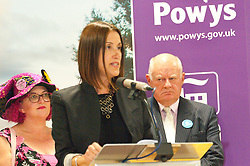© Licensed to London News Pictures. 01/08/2019. Llanelwedd, Powys, UK.  Jane Dodds Liberal Democrats wins the by-election. The Brecon & Radnorshire by-election count takes place in the Food Hall of the Royal Welsh Agricultural Society showground. <br /> The by-election has been recalled because the incumbent Tory MP. Chris Davies, who has been convicted for faking expenses claims, has been booted from the seat after a recall petition was passed when more than 10,000 voters backed the move. <br /> Candidates for the by-election are: Brexit Party - Des Parkinson. Conservative - Christopher Davies. Labour - Tom Davies. Liberal Democrats - Jane Dodds. Monster Raving Loony - Lady Lily the Pink. UKIP - Liz Phillips. Photo credit: Graham M. Lawrence/LNP