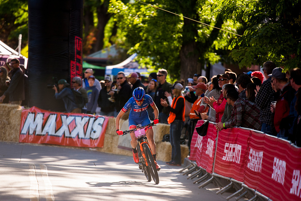 Maghalie Rochette puts the hammer down on a breakaway during the Pro Women's Fat Tire Crit Friday.