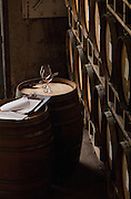 A quiet corner in Chehalem's barrel room, Willamette Valley, Oregon