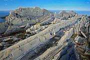 Rocky shoreline on the Gulf of St. Lawrence<br /> Pointe_A-La-Fregate<br /> Quebec<br /> Canada