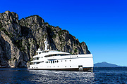 Luxury yacht anchored off the coast of Capri, Isle of Capri, Italy