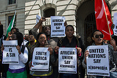 "21 Apr.2015 - London protest says ""Stop the Xenophobic attacks in South Africa""."