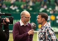 Matthias Stach TV Kommentator macht ein Interview mit Nicolas Kiefer,<br /> <br /> Tennis - Gerry Weber Open - ATP 500 -  Gerry Weber Stadion - Halle / Westf. - Nordrhein Westfalen - Germany  - 19 June 2015. <br /> &copy; Juergen Hasenkopf