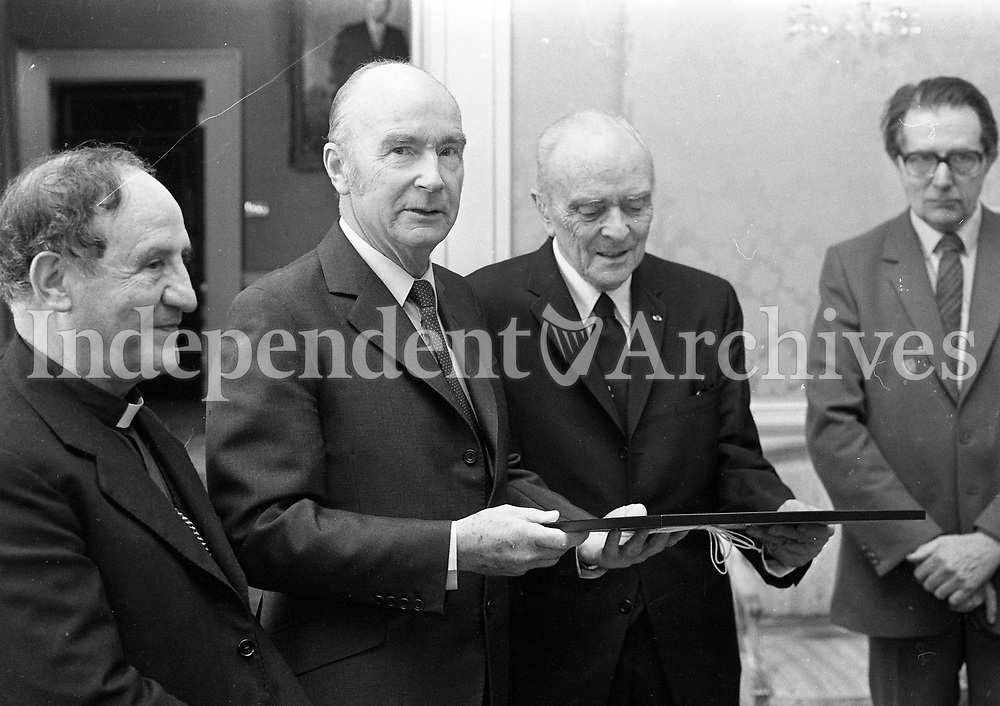 President Dr Patrick Hillery with the Papal Nuncio Dr Alibrandi and Sean McBride at the reception hosted by the President to mark United Nations Day at Aras an Uachtarain, 24/10/1984 (Part of the Independent Newspapers Ireland/NLI Collection).