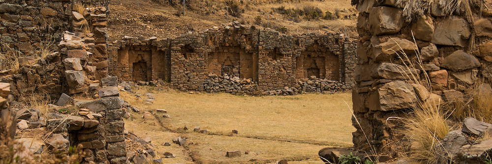 This Aymara temple is on Isla de la Luna (legendary home of the Inca goddess Mama Quila), Lake Titicaca, Bolivia. The Incas left their mark on the architecture as well - the trapezoidal doors are an Inca adaptation.
