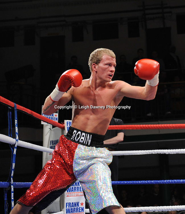 Super Featherweight Billy Morgan defeats Robin Deakin (pictured) at York Hall, Bethnal Green, London on the 19th February 2011. Frank Warren Promotions. Photo credit © Leigh Dawney.