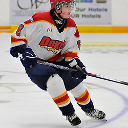 TRENTON, ON - Oct 26: Ontario Junior Hockey League game between Wellington Dukes and Trenton Golden Hawks. Evan Erickson #8 of the Wellington Dukes during second period game action..(Photo by Shawn Muir / OJHL Images)