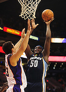 Nov. 5 2010; Phoenix, AZ, USA; Memphis Grizzlies forward Zach Randolph (50) puts up a shot against Phoenix Suns forward Hedo Turkoglu (19) at the US Airways Center. The Suns defeated the Memphis Grizzlies in double over time 123 - 118.  Mandatory Credit: Jennifer Stewart-US PRESSWIRE..