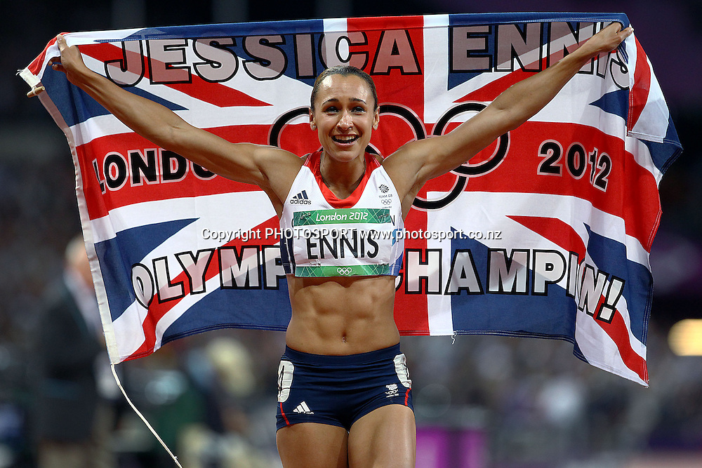 Great Britain's Jessica Ennis wins Gold. Athletics, Women's Heptathlon at Olympic Stadium, London, United Kingdom. Saturday 4th August 2012. Photo: Anthony Au-Yeung / photosport.co.nz