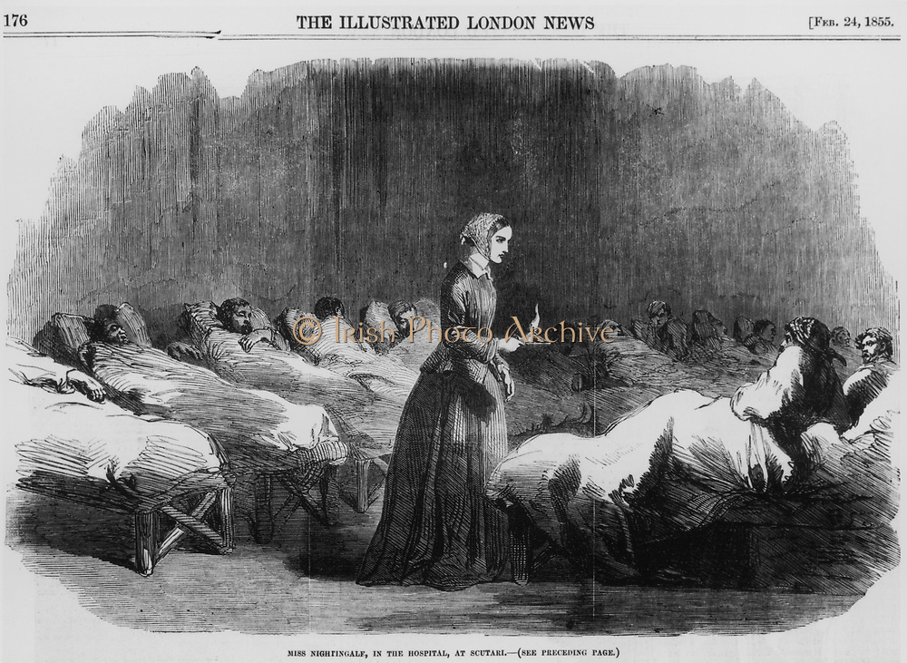 Florence Nightingale (1820 -1910) English nurse, going on her rounds in the hospital at Scutari during the Crimean War. From 'The Illustrated London News', 1855. Wood engraving