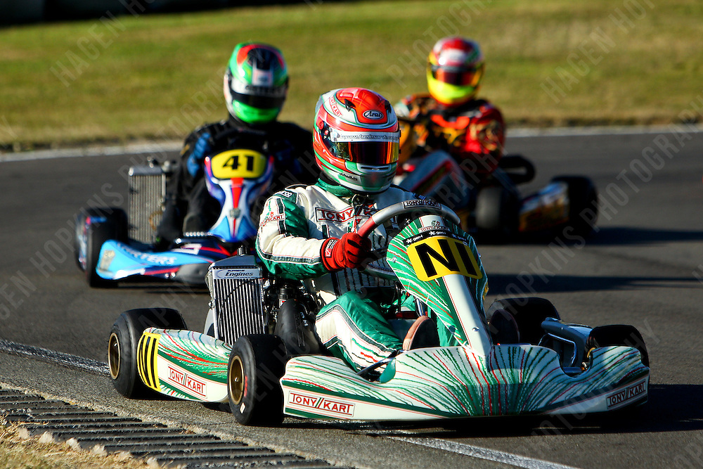Zach Zaloum, NI, Shane Hodgson, 41, 2012 Twilight Trans-Tasman Challenge at Manawatu Kart Club in Palmerston North, New Zealand on Saturday, 18 January 2012. Credit: Hagen Hopkins.