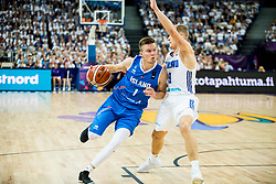 Martin Hermannsson of Iceland vs Sasu Salin of Finland during basketball match between National Teams of Finland and Iceland at Day 7 of the FIBA EuroBasket 2017 at Hartwall Arena in Helsinki, Finland on September 6, 2017. Photo by Vid Ponikvar / Sportida